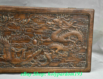 "12"" Old Chinese Huanghuali Wood Carving Palace Dragon Phoenix Jewel Case or Box 11"