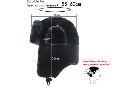 Russian Trapper Hat black With Soviet Badge Faux Fur Ushanka Cossack Flap Cap AU 10