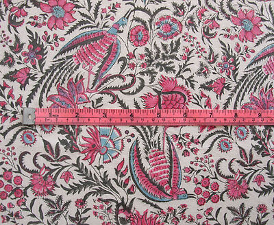 """Hand Block Printed, Cotton Fabric. 2.5 Yards, 42"""" Wide. Birds of Paradise Rose 5"""