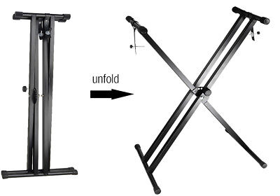 "Black Keyboard Piano ""X"" Stand Electric Organ Rack Metal Height Adjustable New 7"