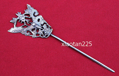 China's Ancient costume Handmade Miao Silver filigree Hairpin Headdress W602 3