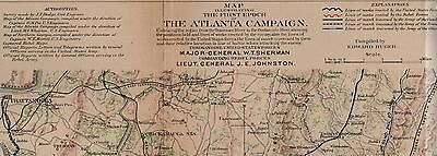 Original Civil War Map March To The Sea Chattanooga Tennessee To