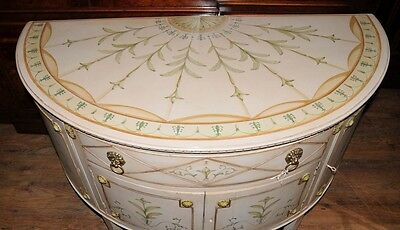 French Louis XV Painted Demi Lune Cabinet Commode Chest 6