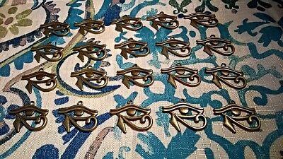 "20 Antique Bronze Tone Eye of Horus Egyptian Symbol Charms Pendants 1.25"" x 1"""