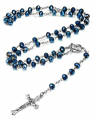 Deep Blue Crystal Beads Rosary Catholic Necklace Holy Soil Medal Cross Crucifix 3