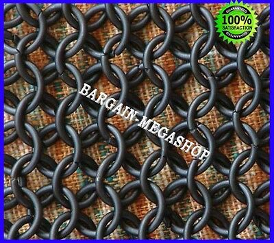 Chain Mail Coif Black Chainmail Hood Knight Armor Reenactment Costume LARP
