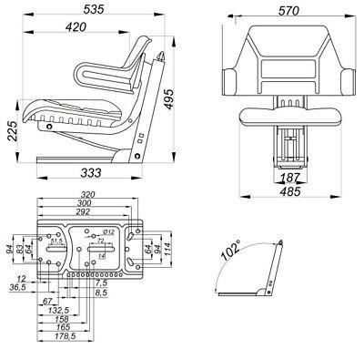 56001 Sedile Universale Trattore con Molleggio Schienale poggiabraccia 6