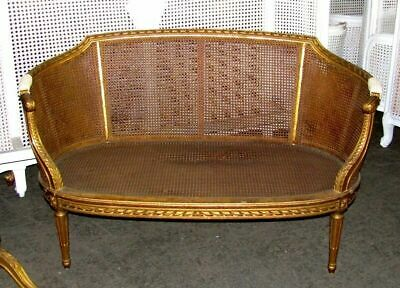 19th Century French Louis XVI Cane Caned Settee Sofa Canapé 11