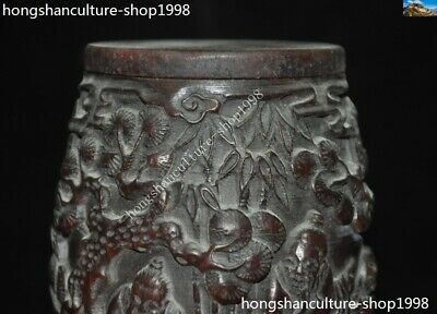 Marked Chinese Dynasty Ox horn Carved Pine tree Old Man Drum shape Box Boxes 2
