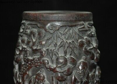 """4""""Collect Rare China Chinese Old Ox Horn Carved Pine Tree man boy Drum Box Boxes 2"""