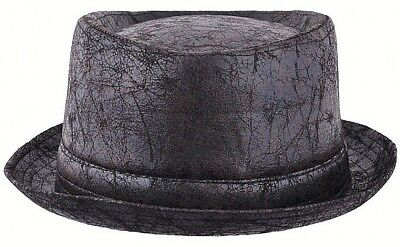 Leather Look Hat Trilby Pork Pie Fedora Gangster PVC Black Ladies Mens Boys 2