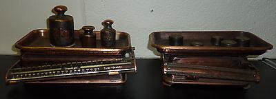 2 antike Waagen +  8 Gewichte Kaufleute Krämer Waage 4