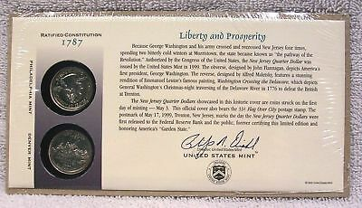 1999 First Day Coin Cover Q12 New Jersey State Quarters P /& D Mints