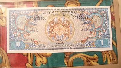Most Treasured Banknotes Bhutan 1981 1 Ngultrum P5 UNC Prefix A/1