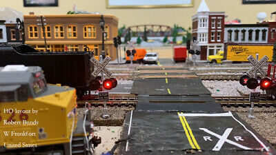 1 x HO Scale railroad crossing signals LED made 4 target faces silver 5