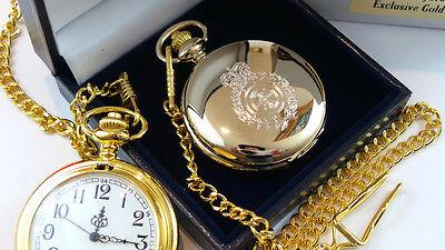 GOLD Plated AMBULANCE POCKET WATCH Paramedic St Johns Driver Gift Case 7