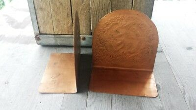 Antique Arts and Crafts Hammered Copper Bookends - Adirondacks 3