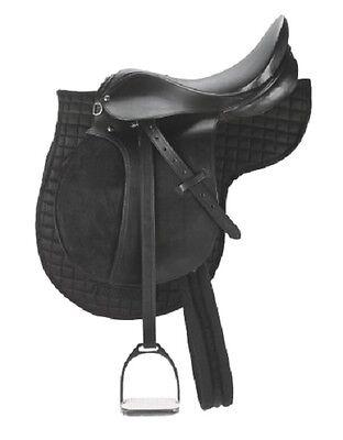 Sattel Pony Ponysattel Echtes Leder Satteldecke Gurt Steigbügel Sattelset 32196