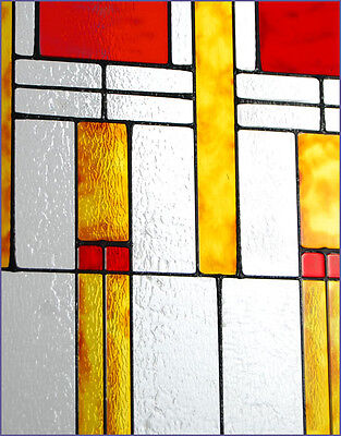 Arts and Crafts Prairie Squares Red Art Glass Panel MGV003 2
