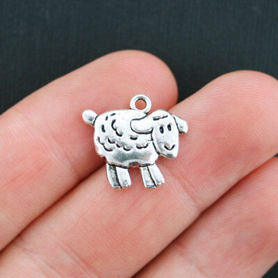 5 Sheep Charms Antique Silver Tone 2 Sided SC5043