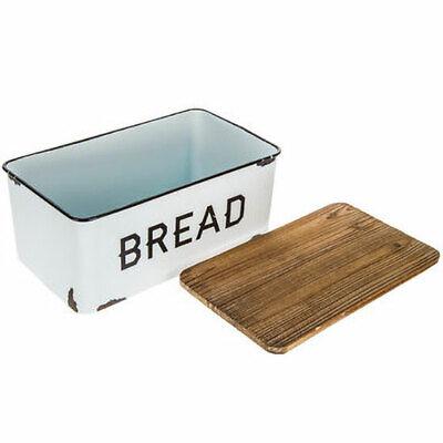 Bread Box Farmhouse White Vintage Retro Style Enamel Shabby Food Storage Chic 2