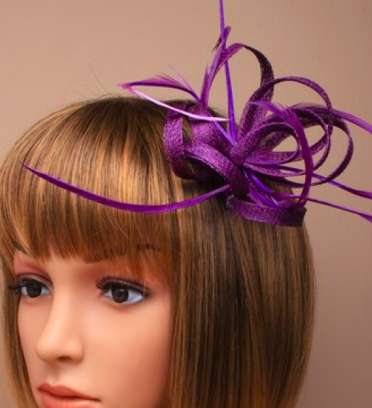 Purple Looped Sinamay and Feather Fascinator Corsage Beak Clip Brooch Pin 4