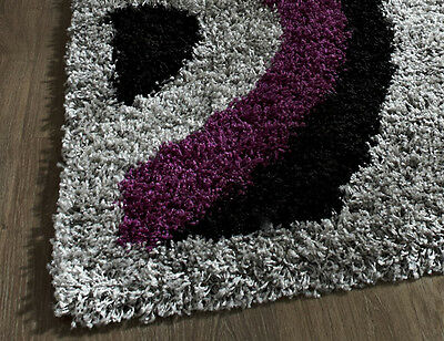 Small- Extra Large Black Purple Grey Thick Soft Rug Modern Shaggy Non Shed Rugs 2