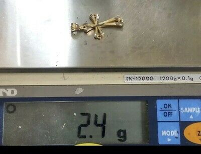 """GOLD cross pendant 14k solid real Vintage Yellow white charm 2.4g 1.30"""" 33mm 7"""