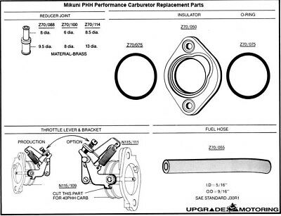 Insulators for Mikuni 40PHH 44PHH Carburetor White 3pr w//ORings Datsun240Z Solex