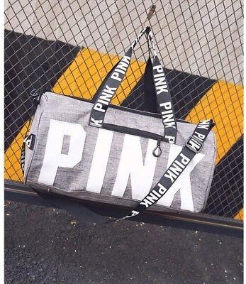 Victoria's Secret PINK Grey Canvas Duffle Bag Yoga Holiday Gym Travel Weekend 2