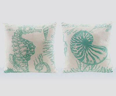 Nautical Seahorse Seashell Decorative Throw Pillows Set Of 2
