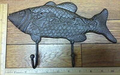 Large 10-3/4 FISH COAT HOOK Cast Iron Rustic Antique Vintage Style Wall Hat Rack 4