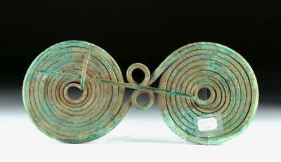 Large Greek Bronze Double Spiral Fibula Lot 12C