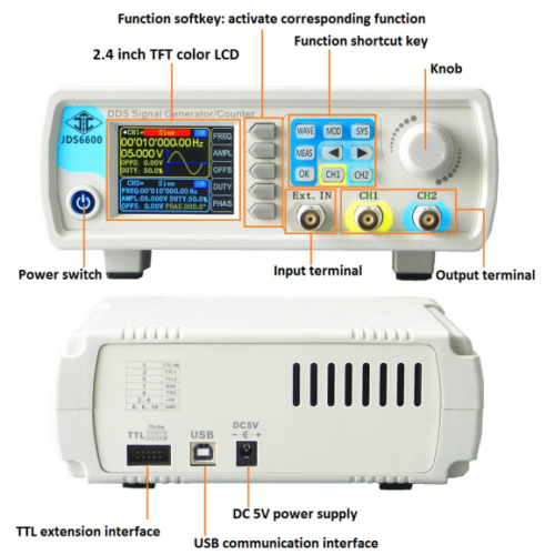 24-40MHz JDS-6600 Dual-channel DDS Function Waveform Signal Generator Counter 9