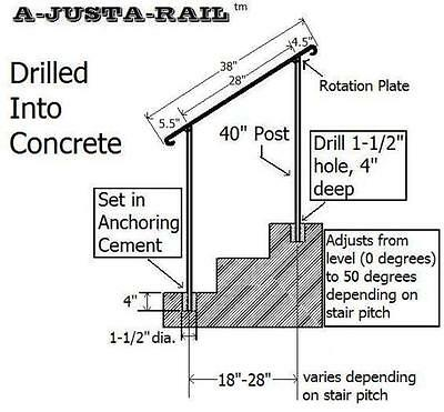 "38""  A-Justa-Rail for drilling into concrete Iron stair Railing step grab Steel 2"