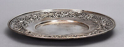 """S. Kirk & Son Sterling Silver 10"""" Plate #727 w/ Floral Repousse Border 10.52 ozt 2"""