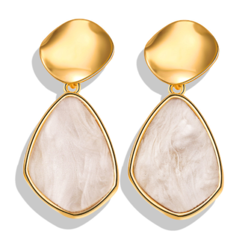 Women Metal Simple Geometric Circular Marble Drop Long Earrings Vintage Ear Stud 7