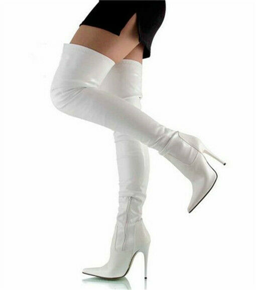 Sexy Women Over Knee Thigh High Boots Pointed Toe Stiletto Heels Club Big Shoes 3