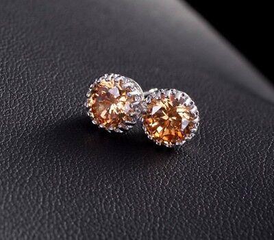 8mm/10mm Men Women Sterling Silver Post Stud Crown Cubic Zirconia Earrings Gift