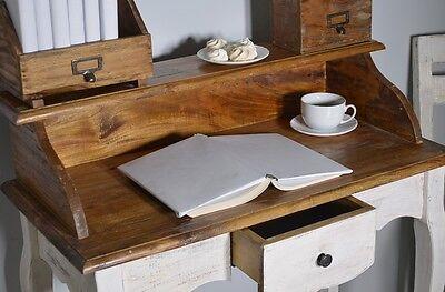 French Style Secretary Table Dressing Table Wood Oak White Vintage Retro 6