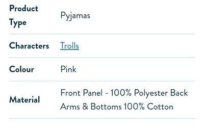 Brand New Trolls Pyjamas Age 5-6 7
