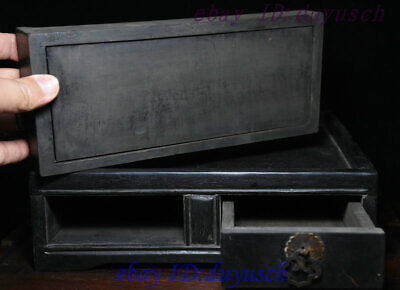 """10"""" Old Chinese Rosewood Wood handcrafted Two drawer small square tables Statue 4"""