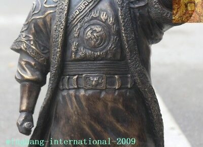 """Old Chinese Bronze copper Mongolia King Genghis Khan Jenghis Khan """"成吉思汗""""Statue 3"""
