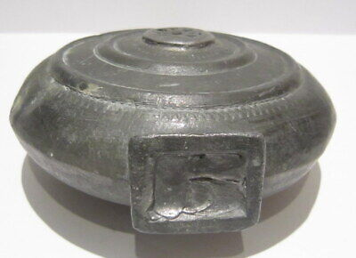 Extremely Rare Post Medieval Antique Pewter Flask-Bottle # 738 9