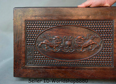 "15.8"" Antique Chinese Dynasty Palace Huanghuali Wood Carved Lion Dog Table Desk 2"