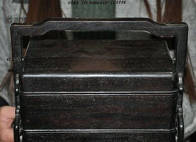 Chinese palace Old Rosewood wood carved Ancient 2 Floor storage Food Box boxes 2