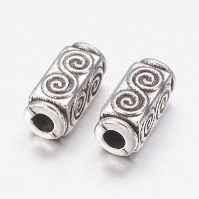 lot de 25 superbes perles cubiques 10 mm en argent tibétain 2
