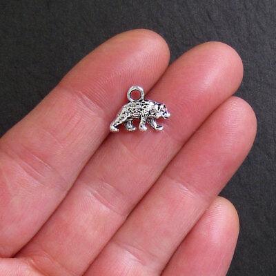 10pcs Bear Charms Charms silver tone Bear Charms Grizzly pendants 24x15mm