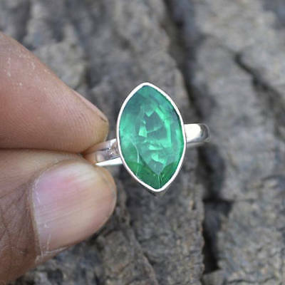 Marquise Faceted Emerald Gemstone 925 Sterling Silver Handmade Ring Size 7 3