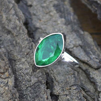 Marquise Faceted Emerald Gemstone 925 Sterling Silver Handmade Ring Size 7 6